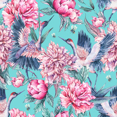 Watercolor seamless pattern with crane, pink peonies