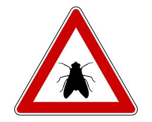 Warnschild mit Fliege