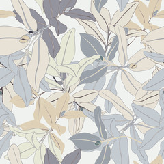 Monochrome Exotic Seamless Vector Leaf Pattern