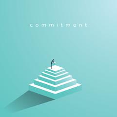 Businessman building steps vector concept. Symbol of determination, commitment, success, motivation, growth.