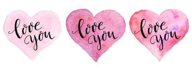 Watercolor hearts with lettering for St. Valentine's Day. Vector