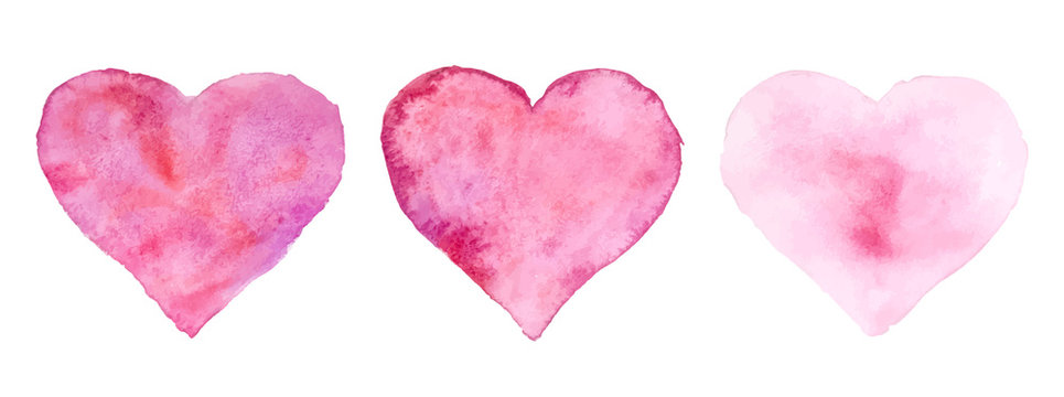 Watercolor hearts for St. Valentine's Day. Vector