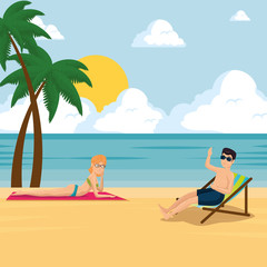 happy couple of lovers sunbathe on the beach design