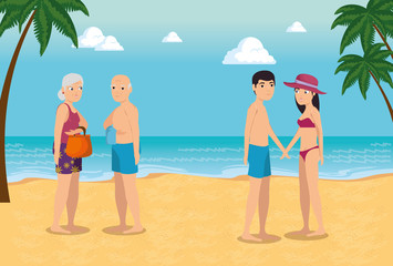 people on the beach summer vacation design