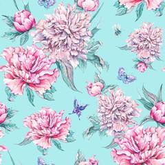 Watercolor seamless pattern pink flowers peonies