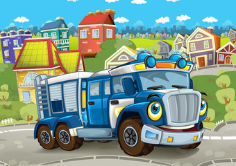 cartoon funny looking policeman truck driving through the city - illustration for children