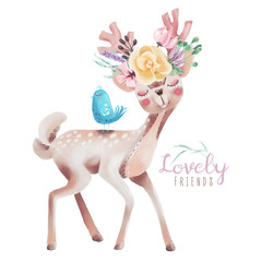 Cute watercolor dreaming deer, fawn with flowers on the horns and little blue baby bird. Lovely...
