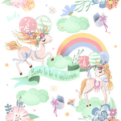 Cute unicorns seamless pattern. Kids pattern with unicorns, flowers, balloons, clouds and rainbow