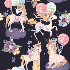 Cute unicorns seamless pattern. Kids pattern with unicorns, flowers, balloons and clouds