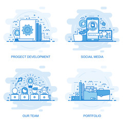 Modern flat color line concept web banner of Social Media, Our Team, Portfolio and Project Development. Conceptual vector illustration for web design, marketing, and graphic design.
