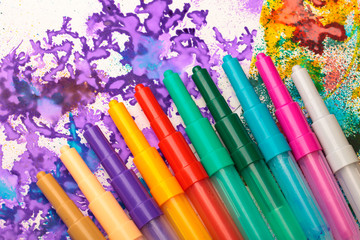 Childden color pens and drawing creativity background