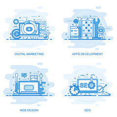 Modern flat color line concept web banner of Seo, Web Design, Apps Development and Digital Marketing. Conceptual vector illustration for web design, marketing, and graphic design.