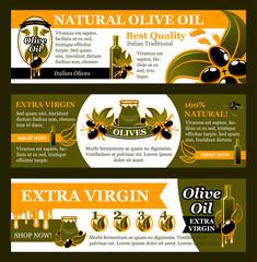 Natural olive oil product banner set, food design