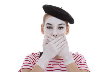 jeune fille mime maquillage blanc théâtre mimant mutisme