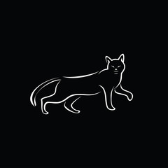 simple cat design black background