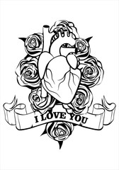 Valentine's day greeting card. Human heart and  roses on white background. Inscription I love you . Vector illustration
