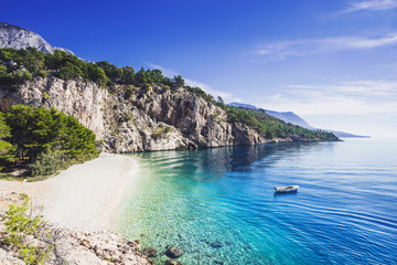 Foto auf AluDibond Strand Beautiful Nugal beach near Makarska town, Dalmatia, Croatia. Makarska riviera, famous landmark and travel touristic destination in Europe