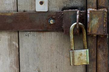 Old lock on the door. close-up. focus on lock