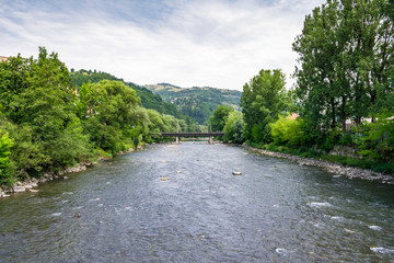 Tisza river in Rakhiv, Ukraine. beautiful landscape in Carpathian mountains
