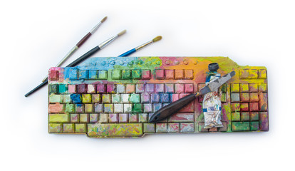 Digital art and creativity and analog fine painting