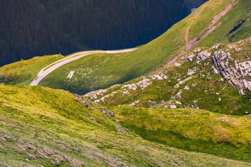 Fagaras mountains grassy slopes and rocky cliffs. beautiful nature background
