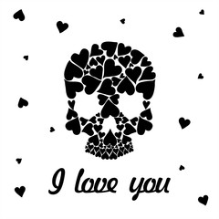 Valentine's Day greeting card. Skull shape from  hearts. Inscription I love you. Vector illustration