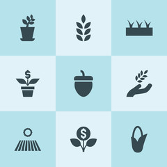 Set of 9 seed filled icons