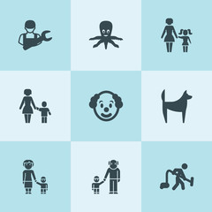 Set of 9 character filled icons