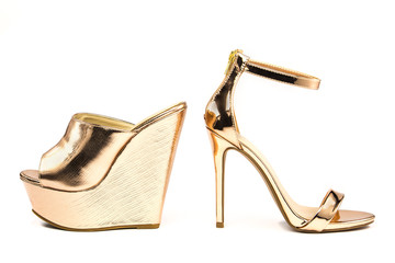 Stiletto high heels and platform mules shoes in metallic colors