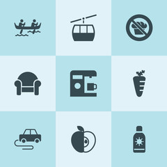 Set of 9 lifestyle filled icons