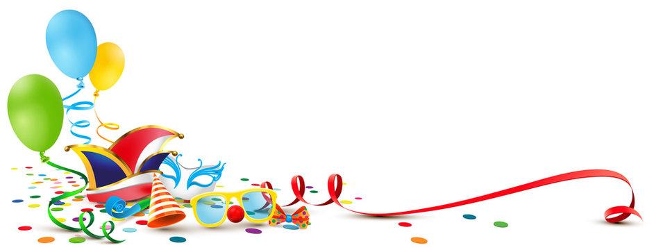 Kulisse mit Fasching Accessoires, Luftballons, Mütze, Maske, Luftschlange und Konfetti Boden