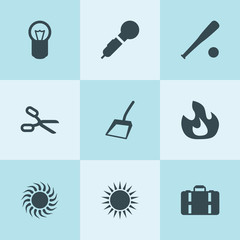 Set of 9 clipart filled icons