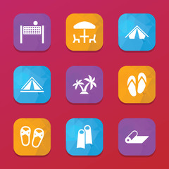 Relaxation icons. vector collection filled relaxation icons set.