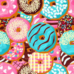 Donut seamless pattern. Pink donut, chocolate donut  and blue mint donut with different topping on chocolate background