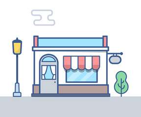 Store building vector line illustration.