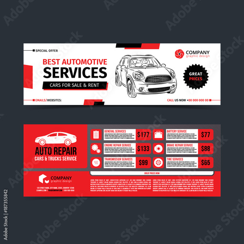Design of banners. Set of Auto Repair Cars & Trucks Service layout ...