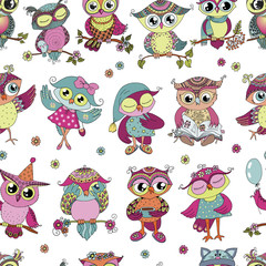 Beautiful seamless pattern of cute colorful cartoon owls with flowers
