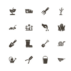 Garden icons. Perfect black pictogram on white background. Flat simple vector icon.