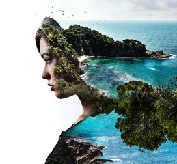 Double exposure. Woman and rocky seaside
