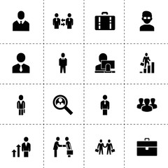 Businessman icons. vector collection filled businessman icons