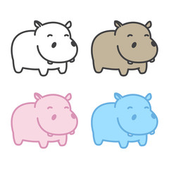 hippo Vector hippopotamus icon logo cartoon illustration character