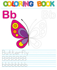 Coloring book alphabet. Educational game for kid. Simple level of difficulty. Restore dashed line and color the picture. Trace game for children. Letter B. Butterfly