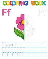 Coloring book alphabet. Educational game for kid. Simple level of difficulty. Restore dashed line and color the picture. Trace game for children. Letter F. Flower
