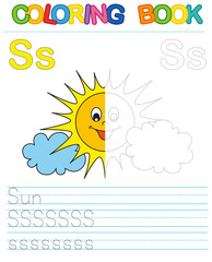 Coloring book alphabet. Educational game for kid. Simple level of difficulty. Restore dashed line and color the picture. Trace game for children. Letter S. Sun