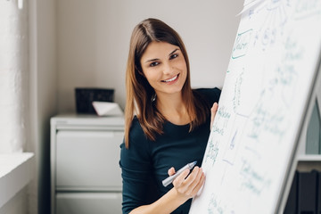 Young cheerful woman standing by flip chart