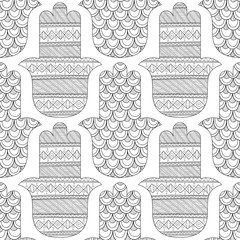 Hamsa hand. Black and white seamless pattern for coloring page. Decorative amulet for good luck and prosperity.