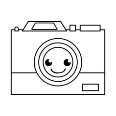 line happy camera technology kawaii cartoon