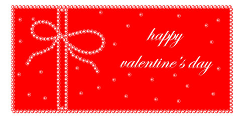 Happy valentines day elegant card. Happy valentines day text with pearls on red background.