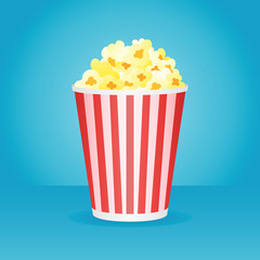 Popcorn box isolated on blue background. Vector illustration.