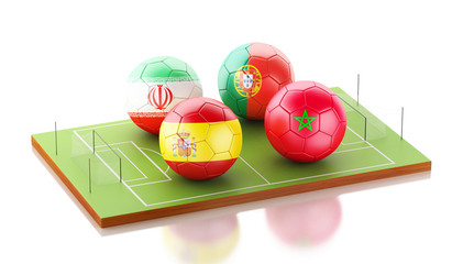 3d soccer world tournament Group B, Spain, Morocco, Portugal, Iran.